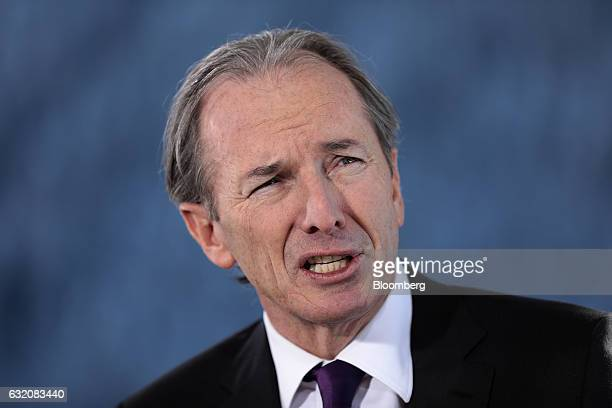 James Gorman chief executive officer of Morgan Stanley speaks during a Bloomberg Television interview at the World Economic Forum in Davos...