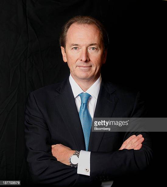 James Gorman chief executive officer of Morgan Stanley stands for a photograph after a telesivion interview during day one of the World Economic...