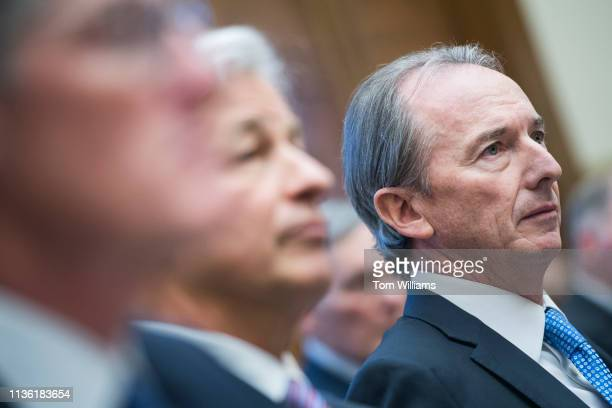 James Gorman right CEO of Morgan Stanley testifies during a House Financial Services Committee hearing in Rayburn Building titled Holding Megabanks...