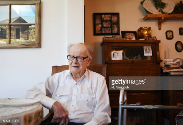 James Gourley waits for his wife to finish up making supper on July 20 2017 in Two Buttes Colorado The two have been married over 70 years and have...