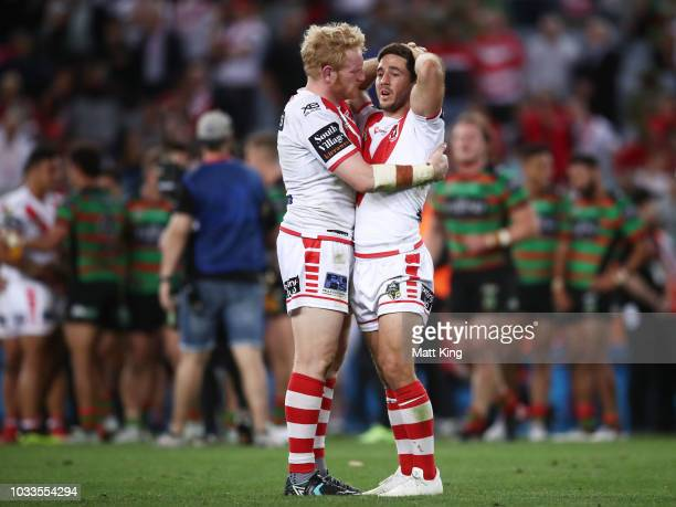 James Graham and Ben Hunt of the Dragons look dejected at fulltime during the NRL Semi Final match between the South Sydney Rabbitohs and the St...