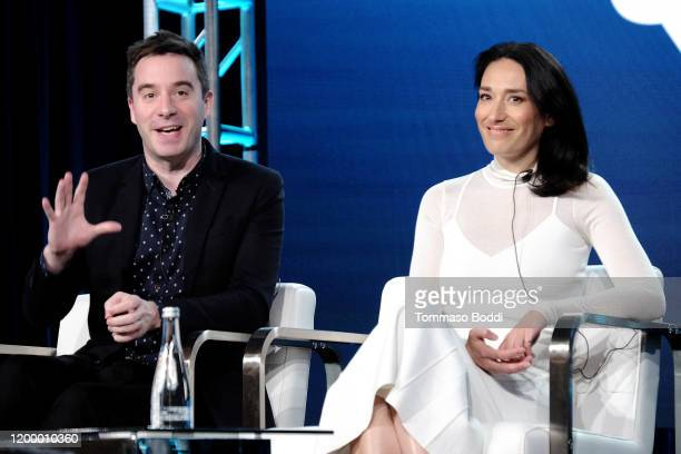 James Graham and Sian Clifford of 'Quiz' speak onstage during the AMC Networks portion of the Winter 2020 TCA Press Tour on January 16 2020 in...