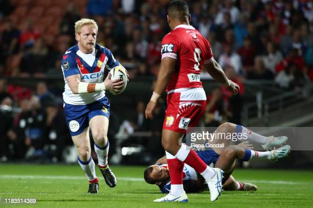 James Graham captain of Great Britain looks for a gap during the International Rugby League Test match between the Great Britain Lions and Mate Ma'a...