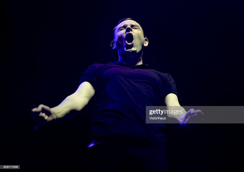 James Graham, lead singer with the Twilight Sad perfoms as support to the Cure at the Manchester Arena on November 29, 2016 in Manchester, England.