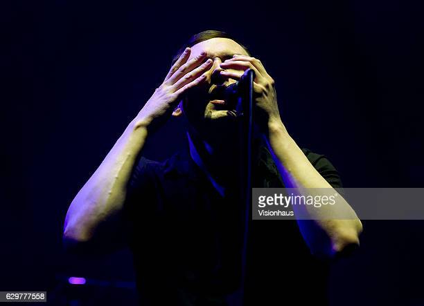 James Graham lead singer with the Twilight Sad perfoms as support to the Cure at the Manchester Arena on November 29 2016 in Manchester England