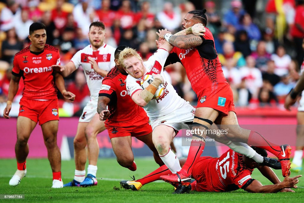 James Graham of England charges forward during the 2017 Rugby League World Cup Semi Final match between Tonga and England at Mt Smart Stadium on November 25, 2017 in Auckland, New Zealand.