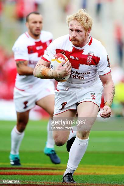 James Graham of England charges forward during the 2017 Rugby League World Cup Semi Final match between Tonga and England at Mt Smart Stadium on...