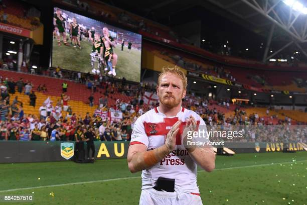James Graham of England thanks the crowd after the 2017 Rugby League World Cup Final between the Australian Kangaroos and England at Suncorp Stadium...