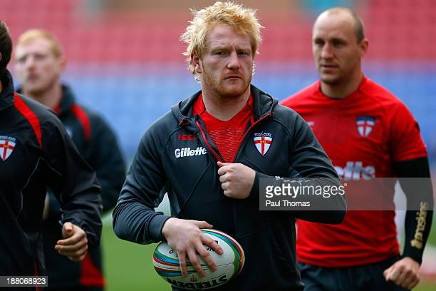 James Graham of England watches on during the England Rugby League World Cup training session at the DW Stadium on November 15 2013 in Wigan England