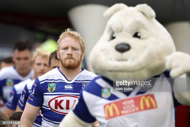 James Graham of the Bulldogs leads his team out behind the Bulldogs mascot during the round one NRL match between the Canterbury Bulldogs and the...