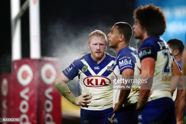 James Graham of the Bulldogs looks on during the round 16 NRL match between the New Zealand Warriors and the Canterbury Bulldogs at Mt Smart Stadium...