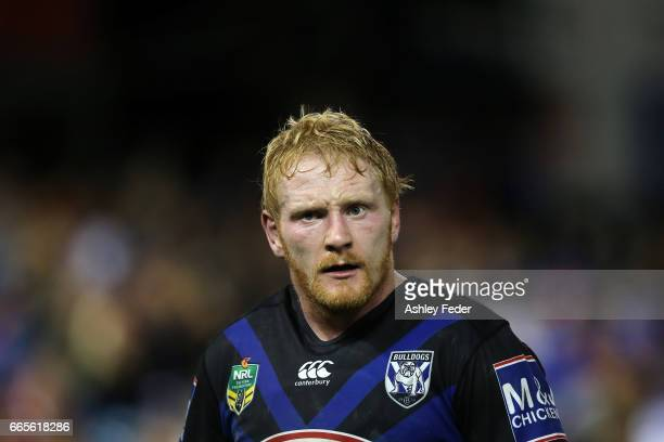 James Graham of the Bulldogs looks on during the round six NRL match between the Newcastle Knights and the Canterbury Bulldogs at McDonald Jones...