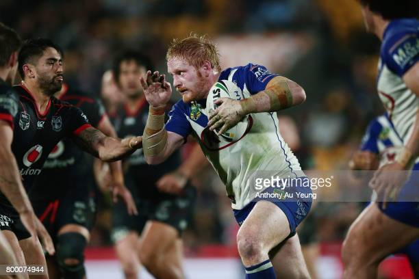 James Graham of the Bulldogs on the charge during the round 16 NRL match between the New Zealand Warriors and the Canterbury Bulldogs at Mt Smart...