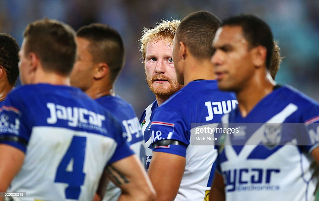 James Graham of the Bulldogs talks with his players after an Eels try during the round nine NRL match between the Parramatta Eels and the Canterbury Bulldogs at ANZ Stadium on April 29, 2016 in Sydney, Australia.