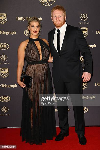 James Graham of the Canterbury Bankstown Bulldogs and Taryn Burgess arrive at the 2016 Dally M Awards at Star City on September 28 2016 in Sydney...