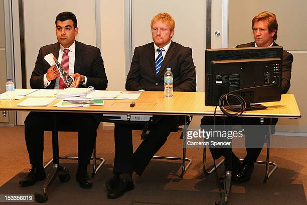 James Graham of the Canterbury Bulldogs and coach Des Hasler appear at the NRL judiciary at NRL Headquarters on October 4 2012 in Sydney Australia...