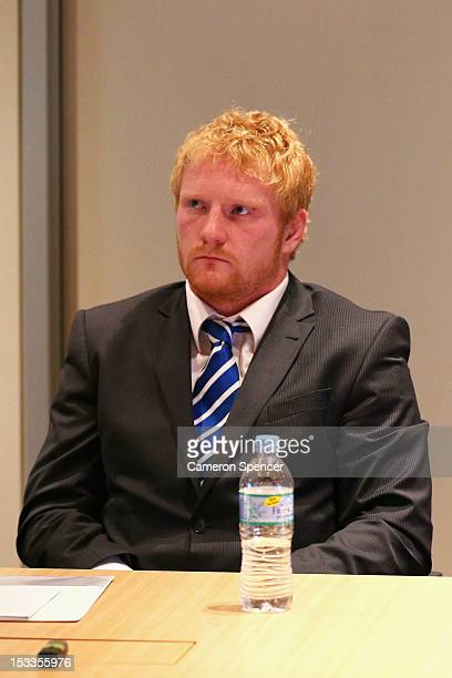 James Graham of the Canterbury Bulldogs appears at the NRL judiciary at NRL Headquarters on October 4 2012 in Sydney Australia Graham has been...