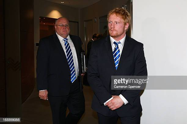 James Graham of the Canterbury Bulldogs leaves the NRL judiciary after being found guilty at NRL Headquarters on October 4 2012 in Sydney Australia...