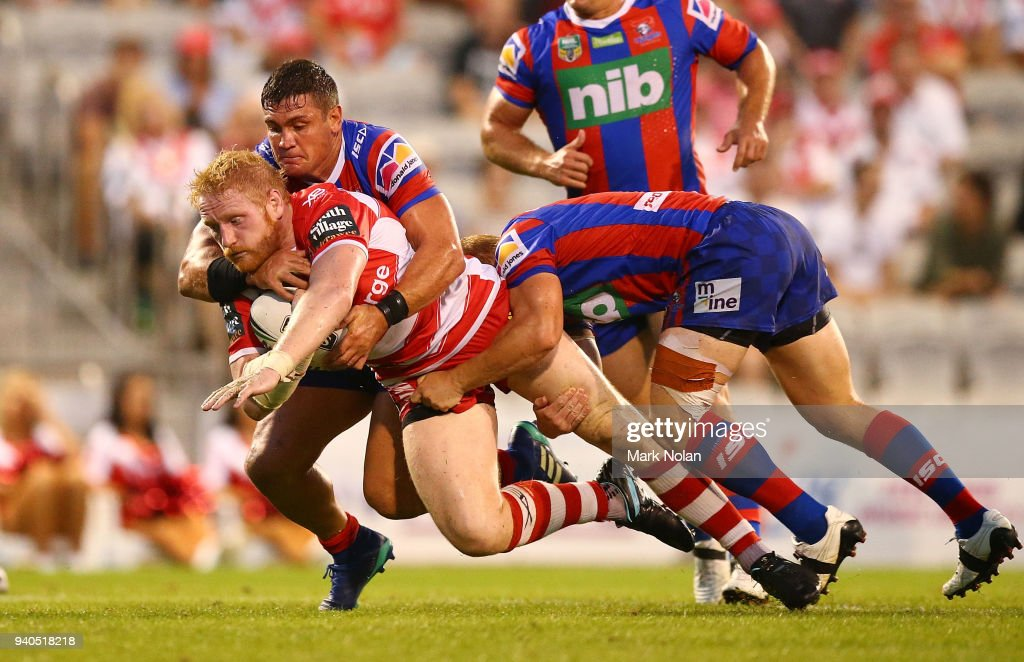 James Graham of the Dragons is tackled during the round four NRL match between the St George Illawarra Dragons and the Newcastle Knights at WIN Stadium on April 1, 2018 in Wollongong, Australia.