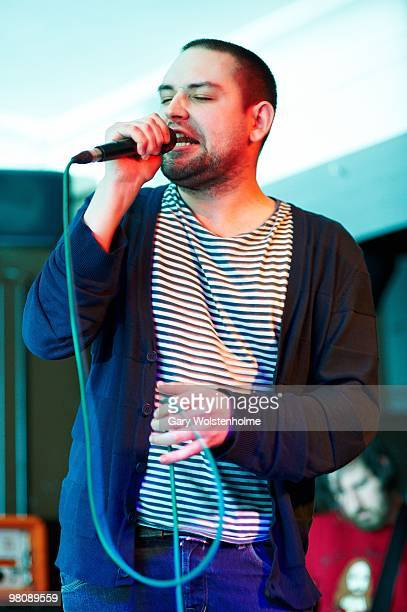 James Graham of The Twilight Sad performs on stage at The Harley on March 27 2010 in Sheffield England
