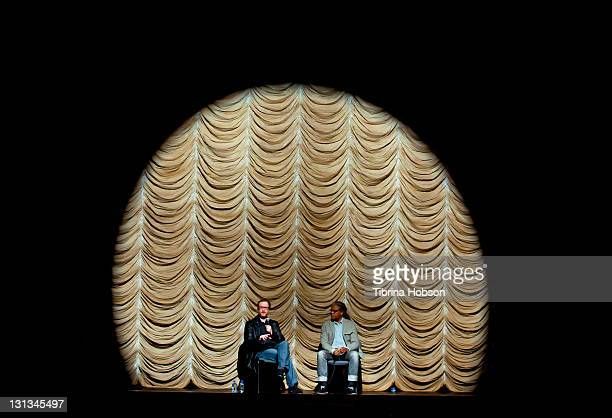 James Gray and Elvis Mitchell attend the 2011 Film Independent Screening Series La Terra Trema at Bing Theatre at LACMA on November 3 2011 in Los...