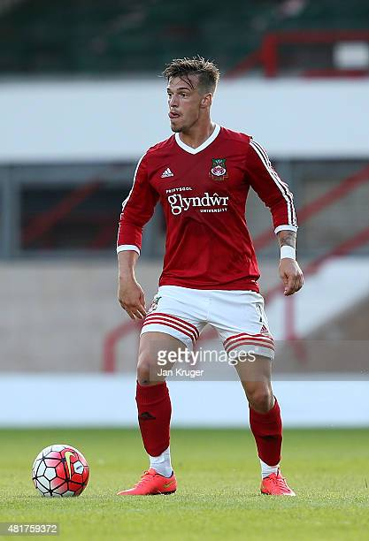 James Gray of Wrexham during the pre season friendly match between Wrexham and Stoke City at Racecourse Ground on July 22 2015 in Wrexham Wales
