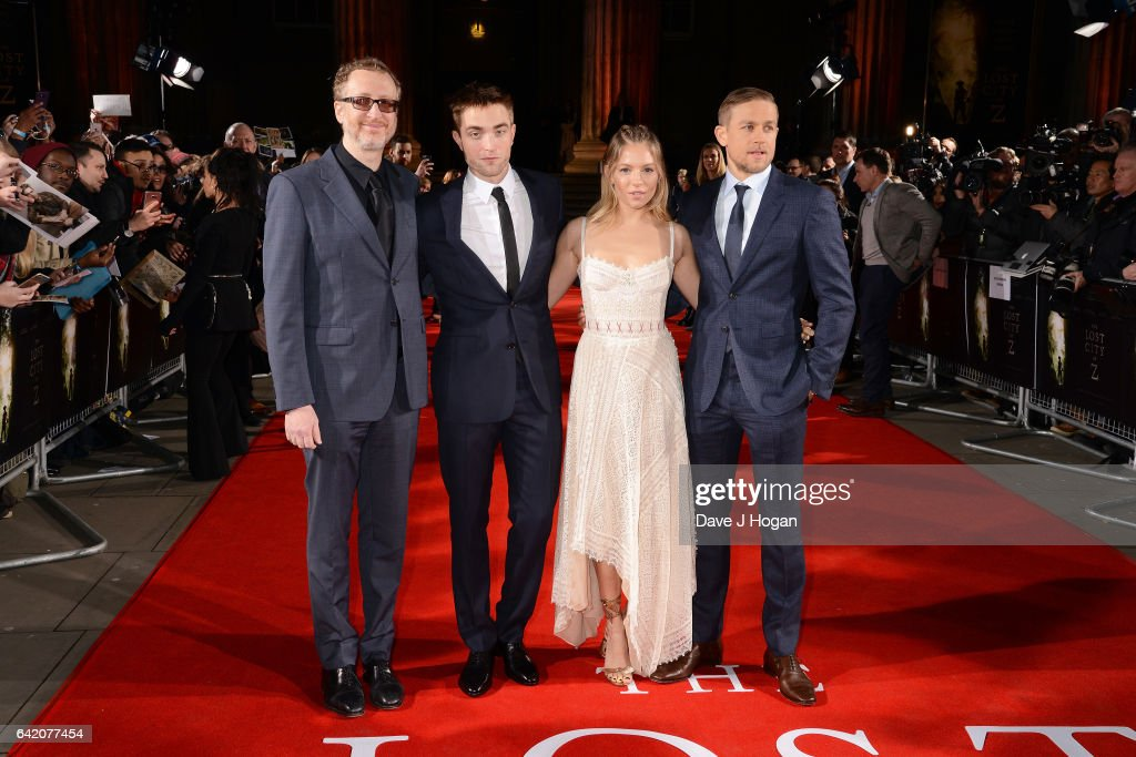 James Gray, Robert Pattinson, Sienna Miller and Charlie Hunnam attend the UK premiere of 'The Lost City of Z' at British Museum on February 16, 2017 in London, England.