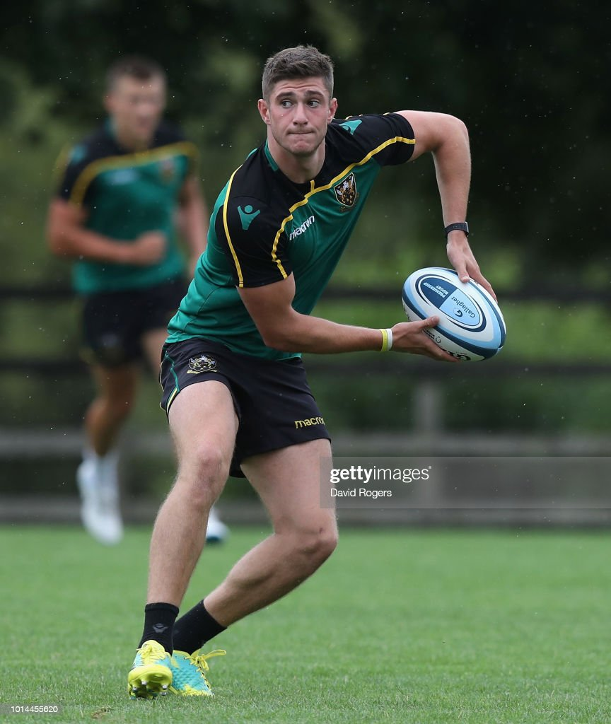 James Grayson passes the ball during the Northampton Saints training session held at Franklin's Gardens on August 10, 2018 in Northampton, England.