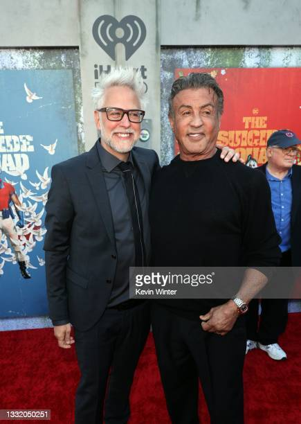"""James Gunn and Sylvester Stallone attend the Warner Bros. Premiere of """"The Suicide Squad"""" at Regency Village Theatre on August 02, 2021 in Los..."""