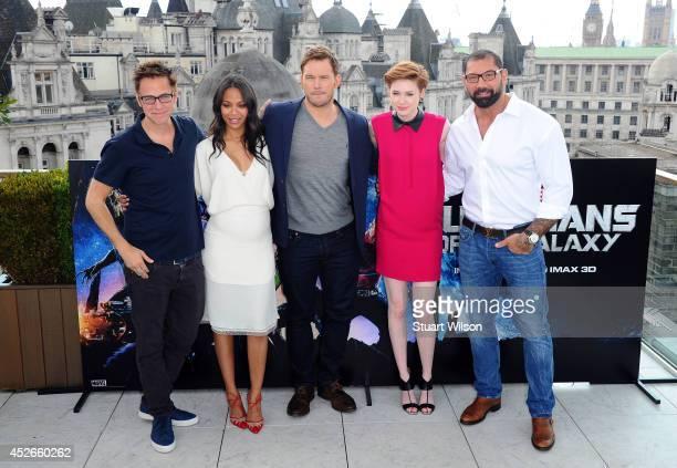 "James Gunn, Zoe Saldana, Chris Pratt, Karen Gillan and David Bautista attends the ""Guardians of the Galacy"" photocall on July 25, 2014 in London,..."