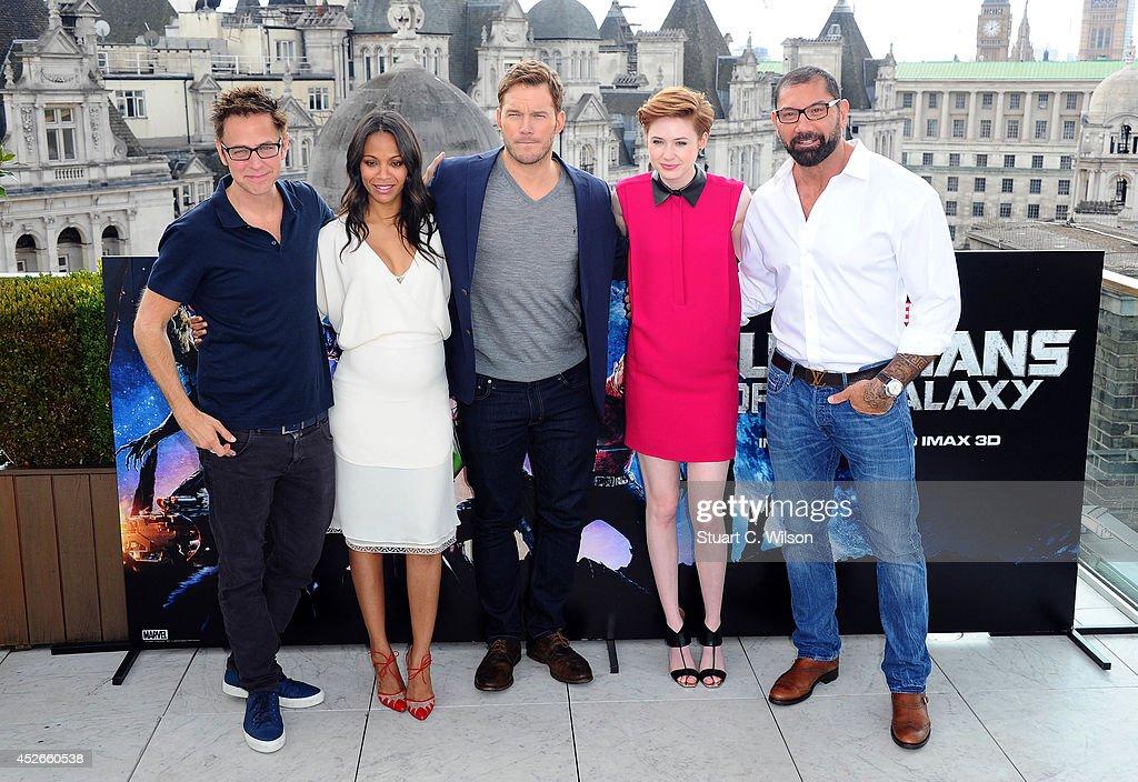 James Gunn, Zoe Saldana, Chris Pratt, Karen Gillan and David Bautista attends the 'Guardians of the Galaxy' photocall on July 25, 2014 in London, England.