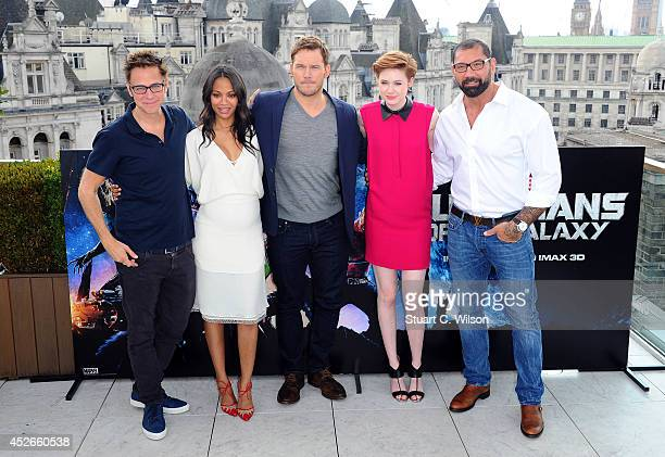"James Gunn, Zoe Saldana, Chris Pratt, Karen Gillan and David Bautista attends the ""Guardians of the Galaxy"" photocall on July 25, 2014 in London,..."
