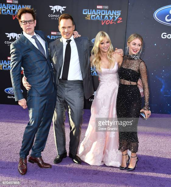 """James Gunn;Chris Pratt, Anna Faris;Jennifer Holland arrives at the Premiere Of Disney And Marvel's """"Guardians Of The Galaxy Vol. 2"""" at Dolby Theatre..."""