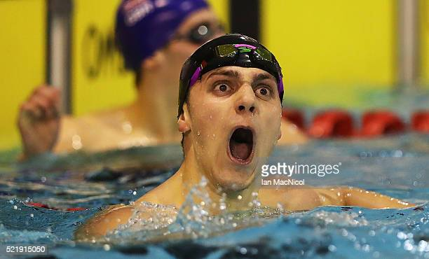 James Guy celebrates after winning the Men's 200m Freestyle during Day Six of The British Swimming Championships at Tollcross International Swimming...