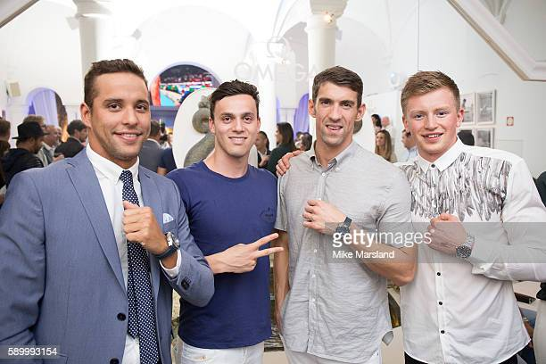 James Guy Chad le Clos Michael Phelps and Adam Peaty pictured at Swimming Legends night at OMEGA House Rio 2016 on August 15 2016 in Rio de Janeiro...