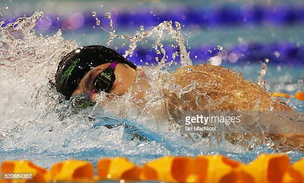 James Guy competes in the Final of The Men's 400M during Day One of The British Swimming Championships at Tollcross International Swimming Centre on...