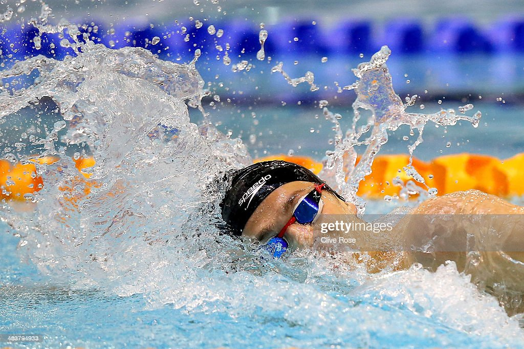 James Guy in action during the Men's 400m Freestyle Final on day one of the British Gas Swimming Championships 2014 at Tollcross International Swimming Centre on April 10, 2014 in Glasgow, Scotland.