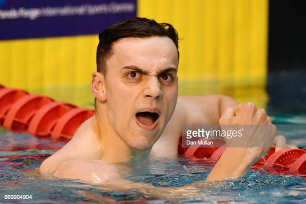 James Guy of Bath Uni celebrates victory in the Mens Open 400m Freestyle final on day one of the British Swimming Championships at Ponds Forge on...