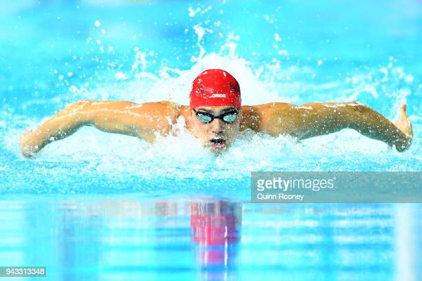 James Guy of England competes during the Men's 100m Butterfly Semifinal 2 on day four of the Gold Coast 2018 Commonwealth Games at Optus Aquatic...