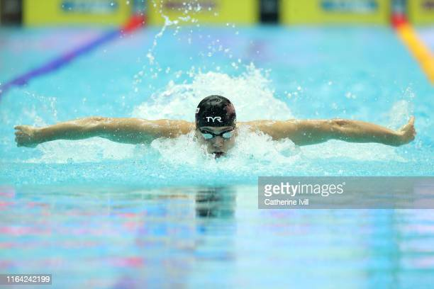 James Guy of Great Britain competes in the Men's 100m Butterfly heats on during day six of the Gwangju 2019 FINA World Championships at Nambu...