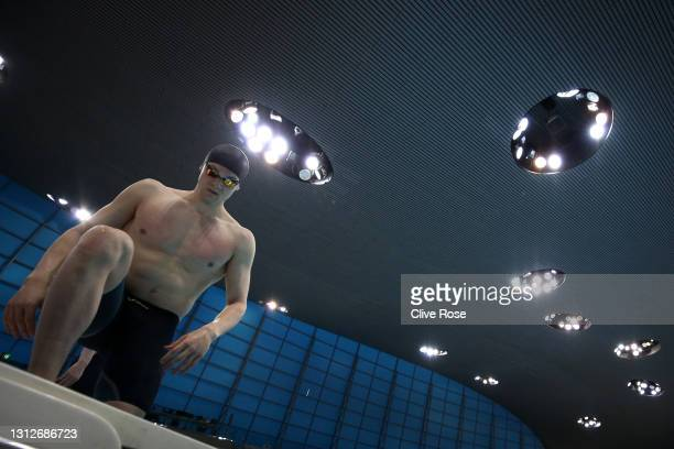 James Guy of Great Britain competes in the Men's 200m Butterfly Final on day two of the British Swimming Selection Trials 2021 at the London Aquatics...