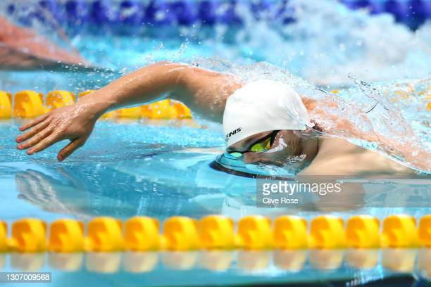 James Guy of Great Britain competes in the Men's 200m Freestyle heats on day three of the British Swimming Invitation Meet at the Manchester Aquatics...