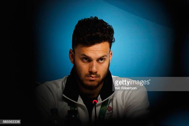 James Guy of Great Britain talks while attending a press conference given by the Great Britain Swimming Team on August 3, 2016 in Rio de Janeiro,...