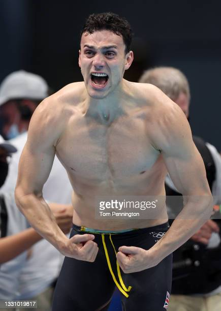 James Guy of Team Great Britain celebrates during the Men's 4 x 200m Freestyle Relay Final on day five of the Tokyo 2020 Olympic Games at Tokyo...