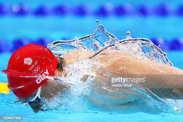 James Guy of Team Great Britain competes in Men's 4 x 100m Medley Relay Final on day nine of the Tokyo 2020 Olympic Games at Tokyo Aquatics Centre on...