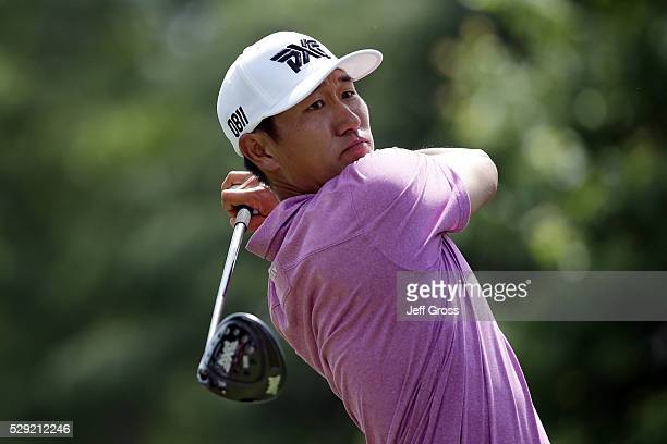 James Hahn hits his tee shot on the ninth hole during the final round of the Wells Fargo Championship at Quail Hollow Club on May 8 2016 in Charlotte...