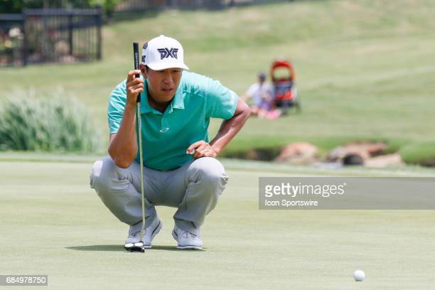 James Hahn lines up his putt on during the first round of the ATT Byron Nelson on May 18 2017 at the TPC Four Seasons Resort in Irving TX