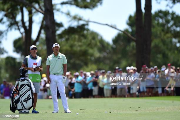 James Hahn lines up his shot on the second hole during round one of the Wells Fargo Championship at Eagle Point Golf Club on May 4 2017 in Wilmington...