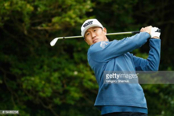 James Hahn of the United States hits his tee shot on the 5th hole during the first round of the 146th Open Championship at Royal Birkdale on July 20...