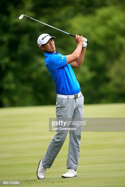 James Hahn plays a shot on the 11th fairway during the first round of the World Golf Championships Bridgestone Invitational at Firestone Country Club...